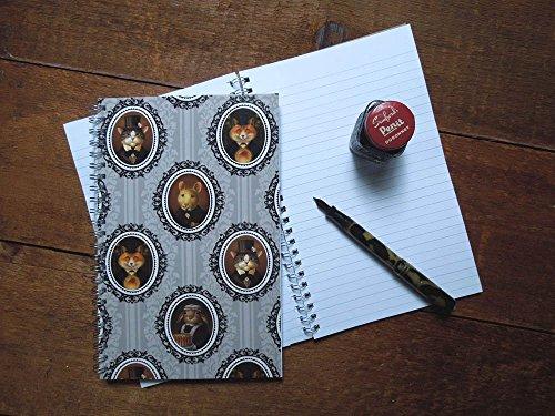 Animal Portrait Notebook, Victorian Animal, Journal, Fox Notebook, Squirrel Notebook, Cat, Rabbit, (Damask Traditional Prints Wallpaper)