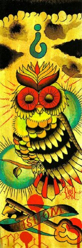 Wisdom Owl by Rone Colorful Bird w/Skeleton Key Tattoo Artwork