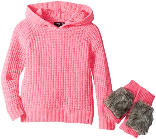 Limited Too Girls' Little Hooded Sweater with Faux Fur Mittens, neon Light Pink, 6X