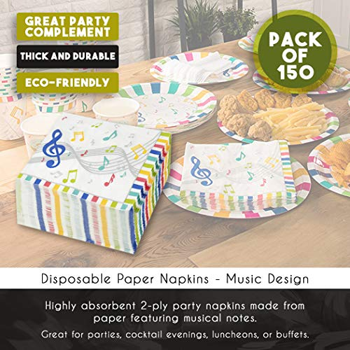 Cocktail Napkins - 150-Pack Luncheon Napkins, Disposable Paper Napkins Music Party Supplies for Kids Birthdays, 2-Ply, Unfolded 13 x 13 Inches, Folded 6.5 x 6.5 Inches by Blue Panda (Image #4)