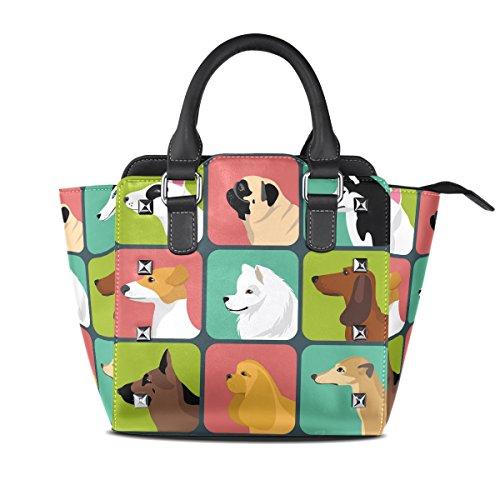 COOSUN Las mujeres conjunto de diferentes cuero Bolsa de hombro Perros iconos PU asa superior del totalizador del bolso del bolso de Crossbody Medio Multicolor