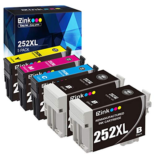 E-Z Ink (TM) Remanufactured Ink Cartridge Replacement for Epson 252XL 252 XL T252 T252XL120 to use with Workforce WF-3640 WF-3620 WF-7110 WF-7710 WF-7720 (2 Black, 1 Cyan, 1 Magenta, 1 Yellow) 5 Pack (Epson Workforce Wf3620 Ink)