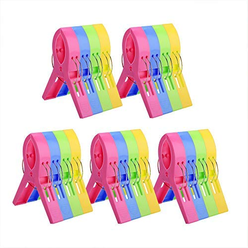 KSPOWWIN 20 Pack Beach Towel Clips Chair Clips Towel Holder for Beach Chair Pool Chairs on Cruise-Jumbo Size, Plastic Chair Towel Clips Clamp Holder-Keep Your Towel from Blowing Away, Clothes Lines [並行輸入品] B07RKR9SQ6