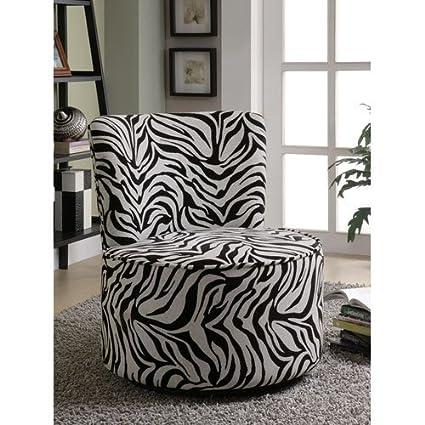 Beau Amazon.com: Coaster 902002 Round Swivel Accent Chair, Zebra Print: Kitchen  U0026 Dining