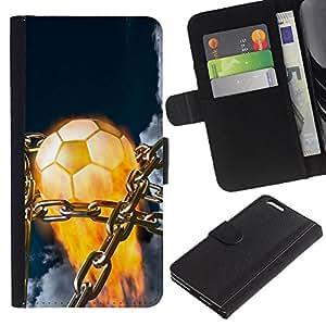 Protector de cuero de la PU de la cubierta del estilo de la carpeta del tirón BY RAYDREAMMM - Apple Iphone 6 PLUS 5.5 - Balón de fútbol llameante