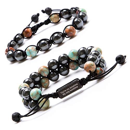 (Bivei Adjustable Hematite Magnetic Therapy Inspirational Bracelet Gemstone Beaded Healing Bracelet Pain Relief Pack of 2(Variscite))
