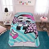 L.O.L. Surprise! Rocker Character Soft Plush Microfiber Kids Bedding Blanket, Twin, Blue/Pink