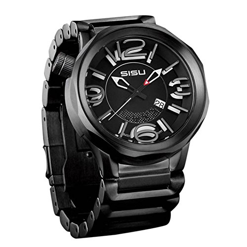 SISU Guardian Q4 Quartz Men's Watch, Black Eclipse Dial, Black SST Bracelet (Model: GQ4-50-BSS)