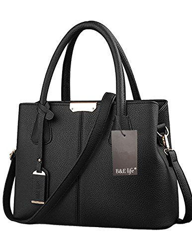 B&E Life Stylish Women Pu Leather Vertical Utility Top Handle Handbag Satchel Tote Purse Bag (Black)