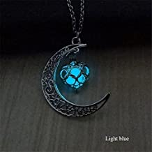 CHRWANG Popular Moon Heart Glow in the Dark Blink Necklace Elegant Jewelry Luminous Chain Light blue