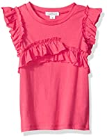 Flapdoodles Little Ruffle Front Girls Tee, Coral, 6X