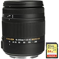 Sigma 18-250mm F3.5-6.3 DC OS HSM Macro Lens for Canon EF Cameras with Optical Stabilizer includes Bonus Sandisk 64GB Memory Card