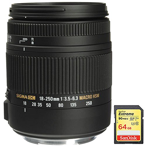 Sigma 18-250mm F3.5-6.3 DC OS HSM Macro Lens for Canon EF Cameras with Optical Stabilizer includes Bonus Sandisk 64GB Memory Card by Sigma