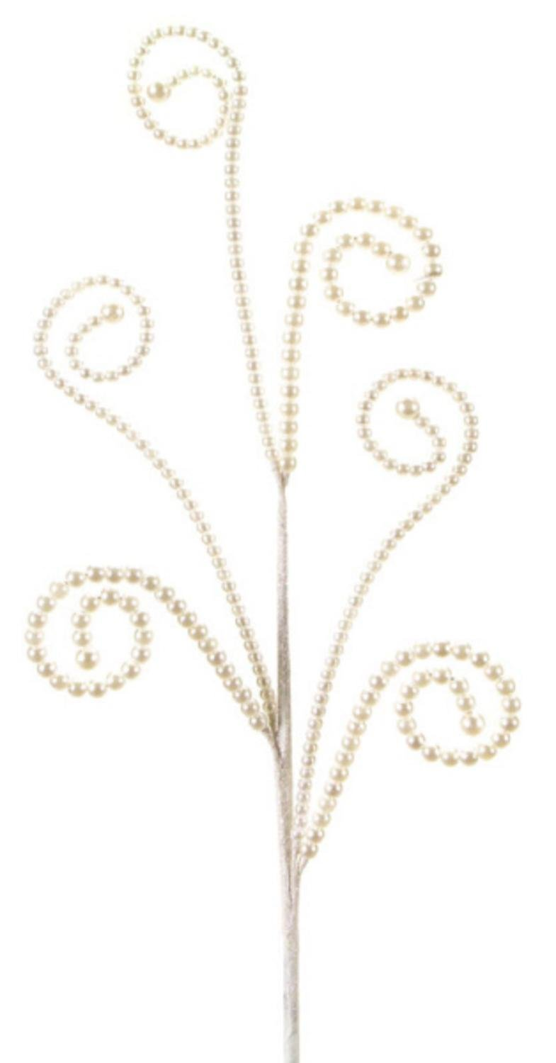 Pack of 12 Dazzling White Pearl Colored Swirled Bead Artificial Decorative Christmas Sprays 26'' by Melrose