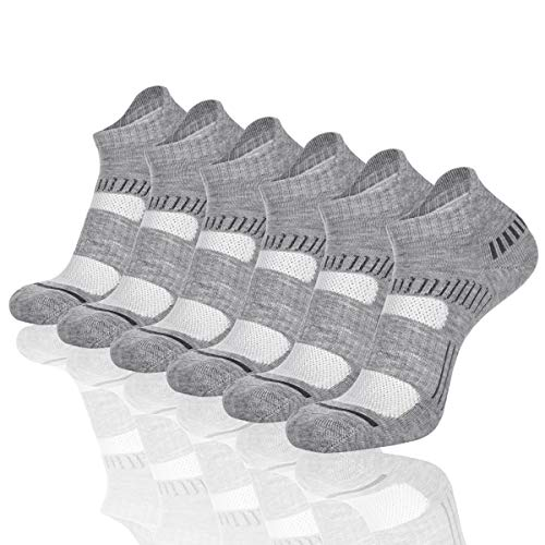 Cooplus Mens Ankle Socks Athletic Cushioned Breathable Low Cut Tab With Arch Support,Grey 6,Fits shoe 7-13 (Sock size 10-13)