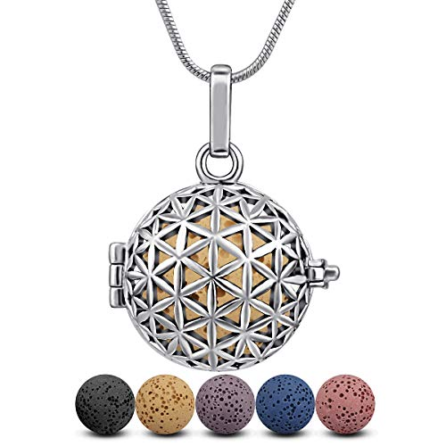 INFUSEU Flower of Life Essential Oil Diffuser Necklace Lava Rock Stone Aromatherapy Pendant Locket Perfume Women Jewelry Silver Plated
