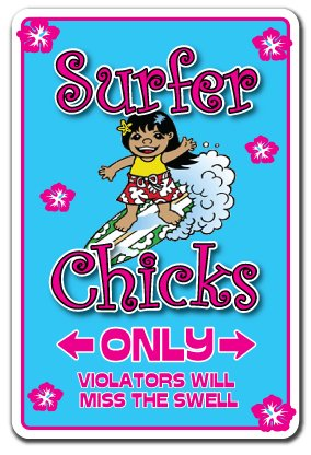 - Surfer Chicks Decal surf Board Girl Chick Surfers Chic California Surfing | Indoor/Outdoor | 9