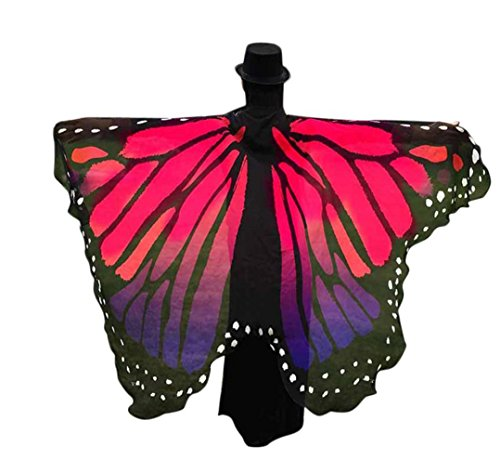 Butterfly Shawl, Soft Fabric Party Costume Fairy Ladies Costume Accessory by BSGSH (Hot Pink (Stlye#2)) (Hot Male Superhero Costumes)