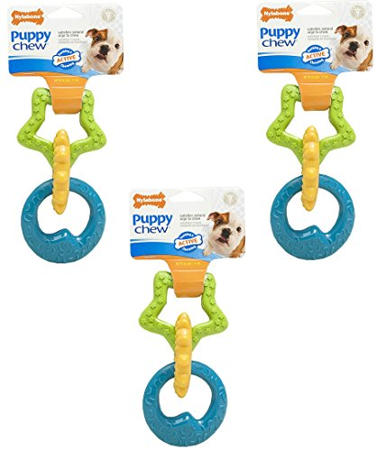(3 Pack) Nylabone Just For Puppies Triple Teething Ring Chew Toy