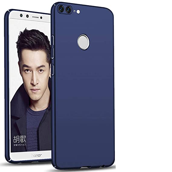 size 40 3a6ca 555bd TheGiftKart Ultra Slim 360* Matte Velvet Feel Hard Back Cover for Honor 9  Lite (Metallic Blue)