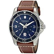 Victorinox Men's 'Maverick' Swiss Quartz Stainless Steel and Leather Automatic Watch, Color:Brown (Model: 249106)