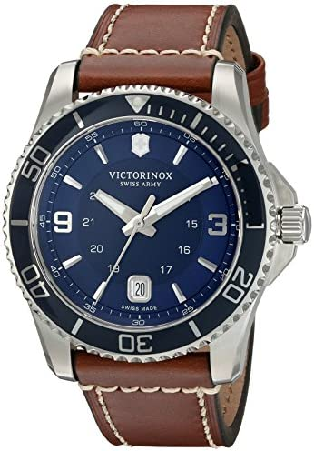 Victorinox Swiss Army Men s 249106 Maverick Watch with Blue Dial and Brown Leather Strap