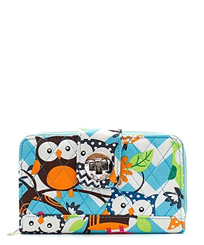 Owl Chevron Stripe Quilted Zip Around Organizer Wallet Blue