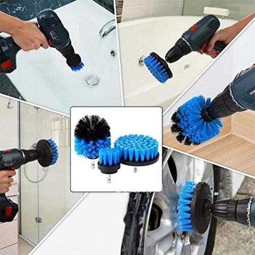 ThinIce 3 Piece Drill Brush Attachment Set - Power Scrubbers for Cleaning - All Purpose Drill Scrub Brushes Kit for Grout, Floor, Tub, Shower, Tile, Corners, Bathroom and Kitchen Surface (Blue) by ThinIce