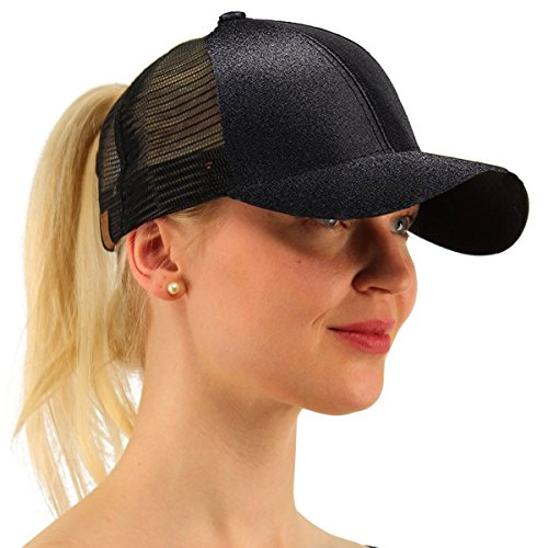 ATIMIGO Trend Glitter Black Baseball Cap for High Ponytail Women's Messy Bun Glitter Trucker Baseball Cap Special for Women Girl (22 Tail Holder)