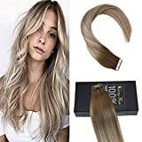 remy platinum - Sunny 14inch Skin Weft Human Hair Tape in Extensions #6 Brown Fading to #16 Dirty Blonde Mix #60 Platinum Blonde Remy Human Hair Extensions Tape in Straight Hair 20pcs 50g