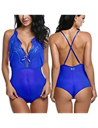 Avidlove Women Lingeries One Piece Jumpsuit Halter Babydoll Lace Chemise