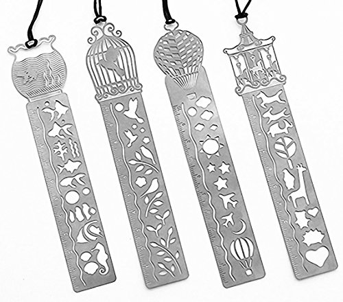(Pack of 4 MINI Ultrathin Metal Bookmark Ruler Templates Stencil Stainless Steel Creative Hollow Mini Cute Bookmarks Template (Carousel,Birdcage,Hot Air Balloon,Tub))