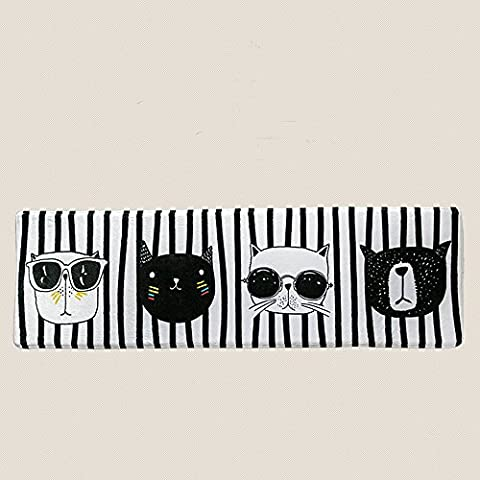 Wolala Home Modern Simple Black and White Striped Cute Cats Girls Bedroom Bedside Rug Runners (1'5x5'0, (Girls Black Rug)