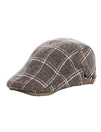YueLian Boys Girls Plaid Wool Newsboy Flat Hat Duckbill Buckle Winter Cap (coffee)