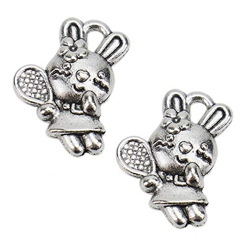 (Monrocco 100 pcs Antique Silver Plated Jewelry Charms Antique Alloy Cute Rabbit Tennis Bunny Charms Alloy Pendants for Jewelry Making DIY Findings)