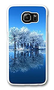 VUTTOO Rugged Samsung Galaxy S6 Case, Winter Trees Water Reflections Polycarbonate Plastic Case Back Cover for Samsung Galaxy S6 PC Transparent
