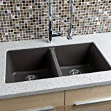 Miseno MGR33185050 33  Undermount Double Bowl Granite Composite Kitchen Sink wit, Mocha