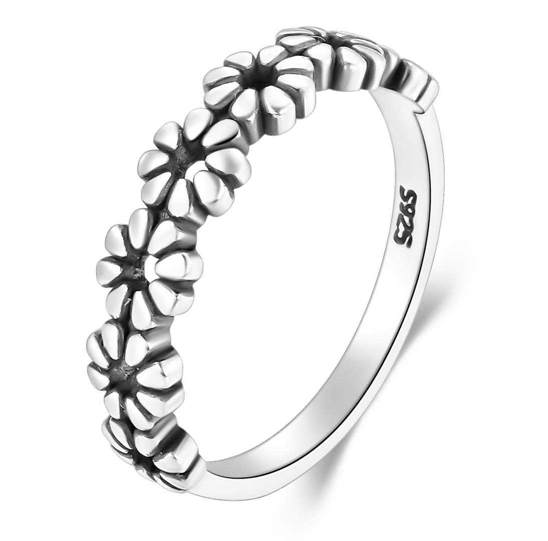 BORUO 925 Sterling Silver Ring Daisy Flower Hawaiian High Polish Tarnish Resistant Comfort Fit Wedding Band Ring