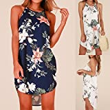 #9: ZOMUSAR Women Boho Short Halter Neck Floral Print Summer Casual Irregular Hem Mini Sundress