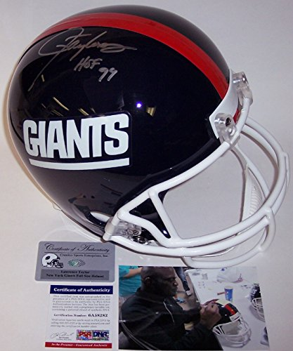 Taylor Lawrence Autographed Football - Lawrence Taylor Autographed Hand Signed New York Giants Throwback Full Size Football Helmet - with HOF 99 Inscription - PSA/DNA