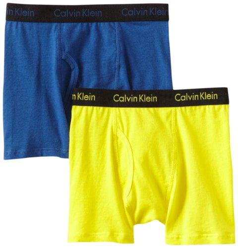 Calvin Klein Big Boys' Assorted 2 Pack Boxer Briefs, Blue/Yellow, -