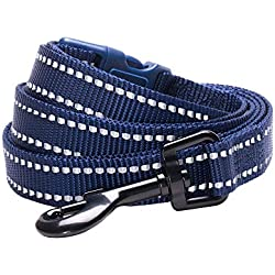 """Blueberry Pet 6 Colors Durable 3M Reflective Classic Dog Leash 5 ft x 3/4"""", Midnight Navy, Medium, Leashes for Dogs"""
