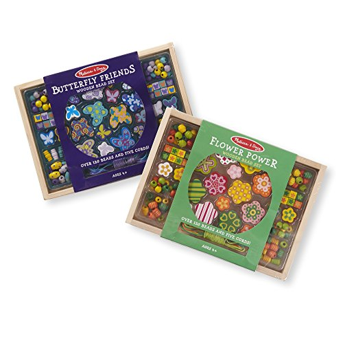 Melissa & Doug Wooden Bead Kit 2 Pack -- Butterfly & Flowers Craft Kit Melissa & Doug Butterfly Jewelry