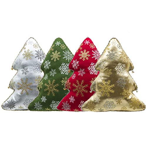 Mini Holiday Tree Shaped Decorative Plush Pillows | Christmas Tree Hanging Ornaments | Store Display Window Decorations (Red/Green / Gold/Silver, Set of 4)
