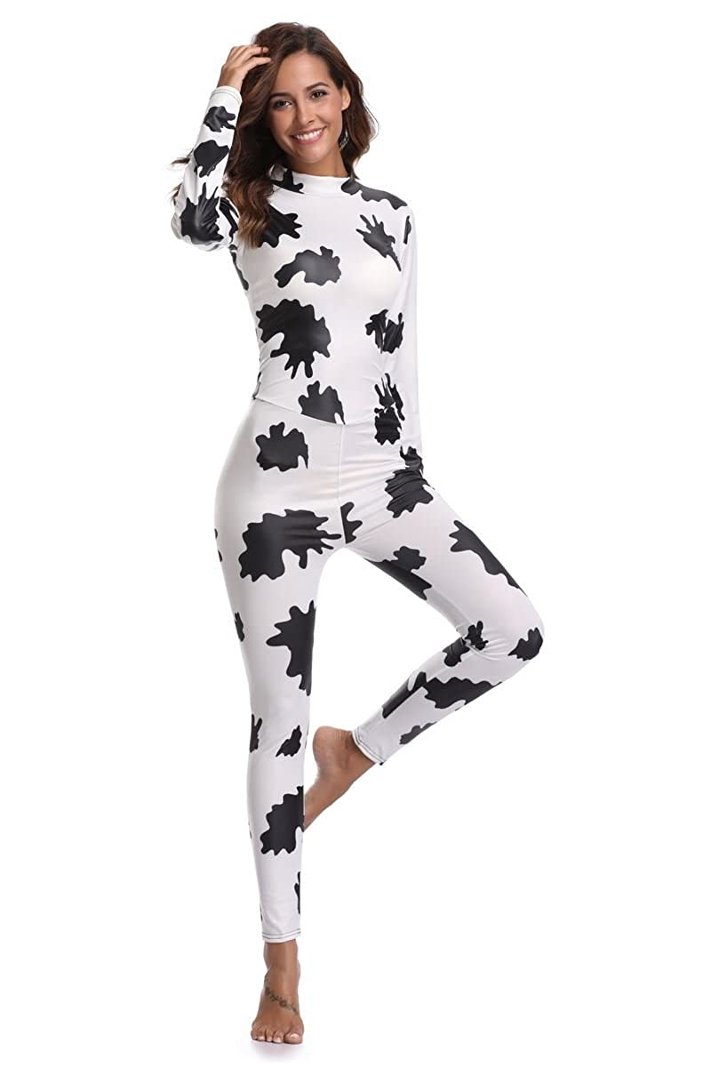b68965619d97 Amazon.com  JJ-GOGO Zebra Print Catsuit - Sexy Halloween Cowgirl Print  Jumpsuit Party Fancy Dress Costume for Women  Clothing