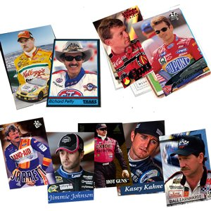 40 Racing Hall-of-Fame and Superstar Cards Collection Including Drivers such as Dale Earnhardt Jr., Kasey Kahne, Jeff Gordon, Tony Stewart, Jimmie Johnson, Kevin Harvick, Matt Kenseth, Kyle Busch, Carl Edwards, Terry Labonte, and Richard Petty. Ships in P