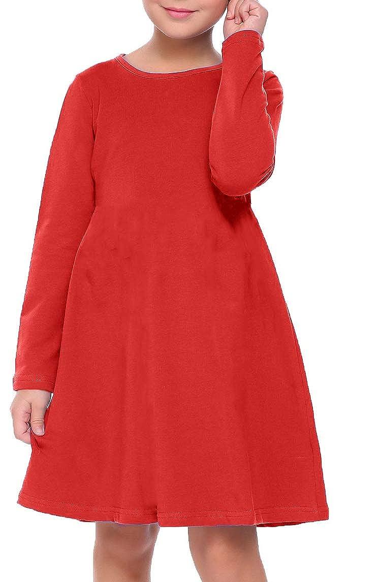 Girls Kids Plain Round Neck Long Sleeve Swing Flared Dress Maxi Age 3-14 Years