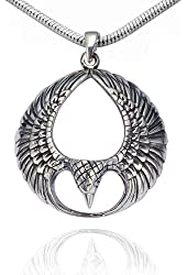925 Sterling Silver Polished Detailed Spread Phoenix Wing Pendant on Alloy Necklace Chain, 18 inches