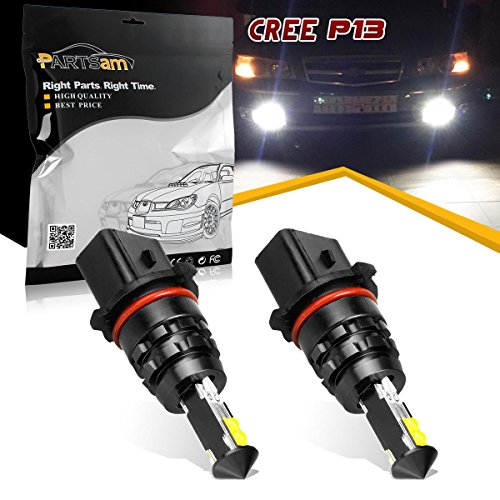 Partsam Super Bright Xenon White Cree P13W PSX26W High Power LED Replacement Bulbs For 2010-2013 Chevy Camaro, 2013-up Mazda CX-5, 2008-2012 Audi A4/S4/Q5 Daytime Running Lights, etc