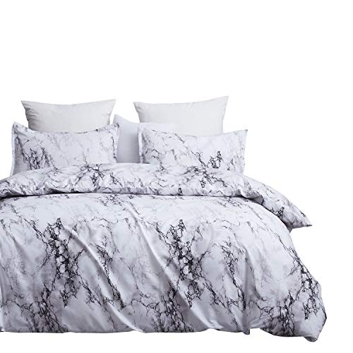 DeerHome Boho Style Bedding Set Marble Ethnic Bedding Sets Microfiber Duvet Cover Set, Print Floral Design Marble Style Bedding Set,Queen Size
